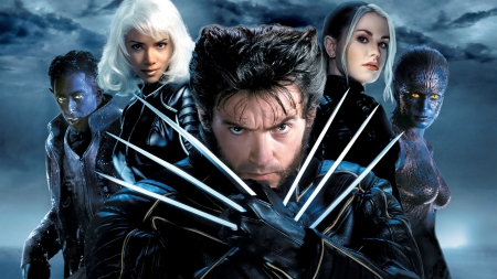 X-Men (2000) - poster, claws, wolverine, comices, black, x-men, fantasy, actor, blue