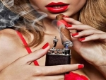 woman,smoking,cigarettes,red,