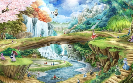 touhou project - touhou, waterfall, project, bridge