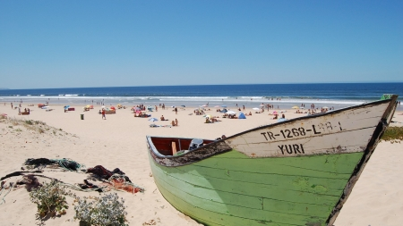 Boat on The Beach - portugal, daytime, sea, beach, boat, sand, water, nature, blue sky