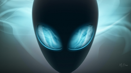 Alien Eyes - ET, outer space, alien, eyes, Firefox Persona theme, blue