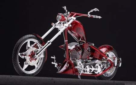 Red Chopper - davidson, custom, motorbike, bike, choper, harley, wheels