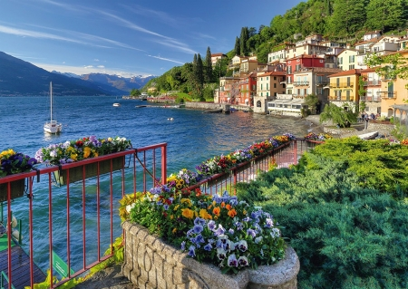 Lake Como, Italy - water, mountains, flowers, village, nature, spring