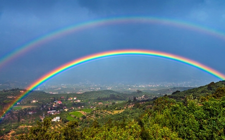 Rainbow - village, sky, rainbow, trees, fields, nature