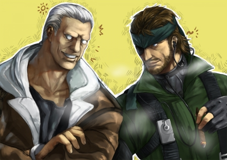 Time To Find Out Who Is Better! - Anime Guy, Video Game, Batou, Anime, Snake, Smile, White Hair, Ghost In The Shell, Cigar, Beard, Video Game Guy, Cyborg, Blue Eyes, Crossover, Eye Patch, Metal Gear, Brunette, Robotic Eyes