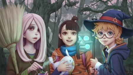 Witches - luminos, manga, hat, fantasy, girl, gohpot, little witch academia, anime, realistic, pink, blue