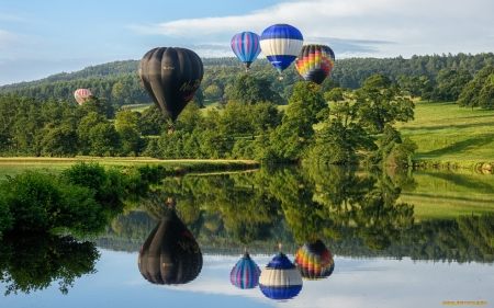 Hot Air Balloons - Balloons, landscape, trees, lake