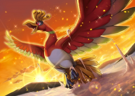 HO-OH Rising - HO OH, Video Game, Anime, Bubbles, Mountain, Legendary Pokemon, Sparkels, Sunset, Pokemon, Clouds, Sunlight, Pocket Monsters, Bird