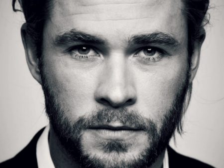 Chris Hemsworth - Chris Hemsworth, bw, black, face, man, white, actor