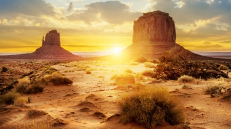 Sunset in the Desert - desert, rocks, sand, sky, sunset, heat, Firefox Persona theme, sunrise
