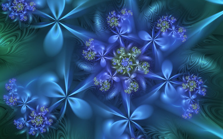 Midnight Blues - flowers, fractals, blue, spiral
