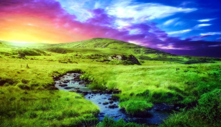 Colorful Sky over the Hills - Sky, Hill, Nature, Grass
