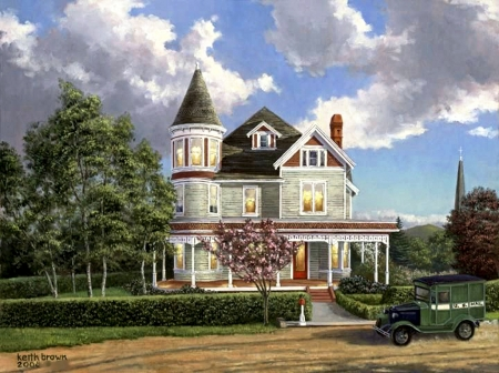Special Delivery - car, victorian, vintage, roag, clouds, cottage, sky, artwork, painting