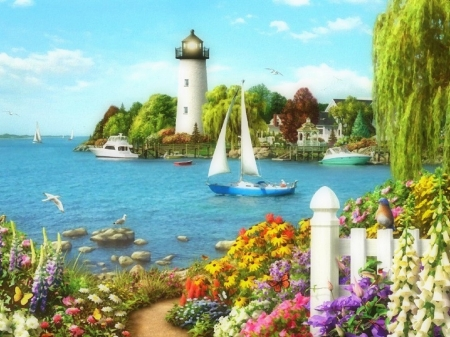 By the Bay - houses, love four seasons, attractions in dreams, sea, boats, paintings, paradise, bays, lighthouses, summer, flowers, nature, sailboat, coast