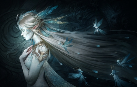 Queen of fairies - elf, female, fairies, blue, Queen, fantasy
