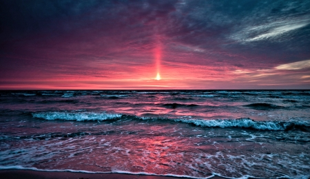 Ocean Sunset - Sunset, Sky, Ocean, Nature