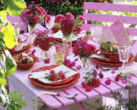 Beautiful Flowers - plate, table, flowers, pink