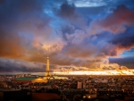 Paris at Turbulent Sunset