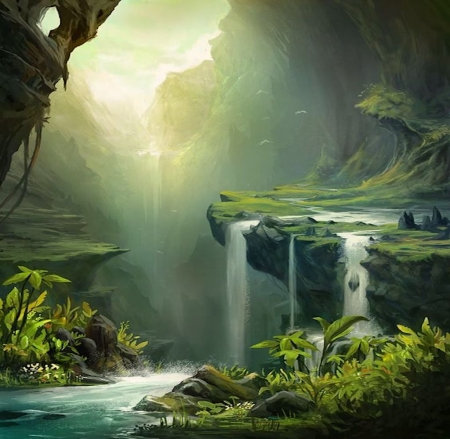 Green valley - colorful, art, sun, beautiful, valley, mountain, fantasy, water, splendor, green, jungle, waterfall, peaceful, nature