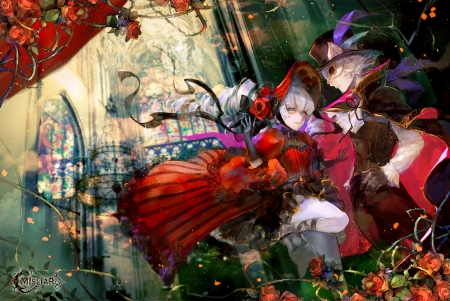 Masquerade - red, manga, man, hat, masquerade, minato 666, girl, anime, flower, mask, couple