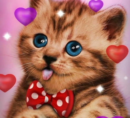 Kitten - red, silly, bow, valentine, cat, tongue, animal, cute, dot, heart, funny, face, kitten, eyes, pisica