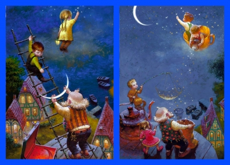 Star dust collage - luna, luminos, children, collage, fantasy, moon, painting, cup, sweet dreams, victor nizovtsev, star dust, blue, night, grandfather