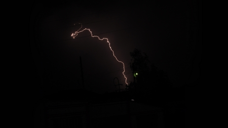 Lightning - weather, forces of nature, night, Lightning, silhouette, nature