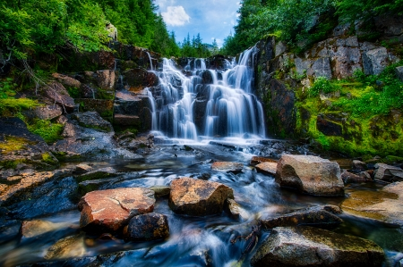 breathtaking waterfall - waterfall, trees, rocks, nature