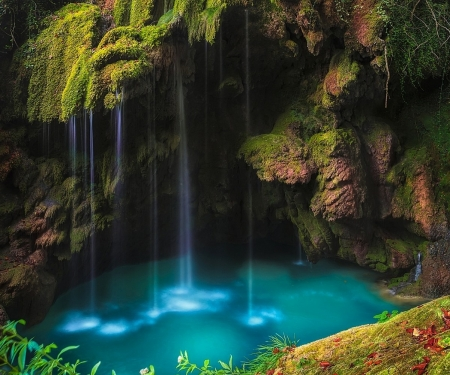 beautiful waterfall - rocks, amazing, waterfall, nature, trees