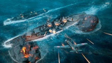 world of warships - plane, battle, wrld, ocean, warship