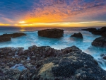 Sunset on Rocky Coastline