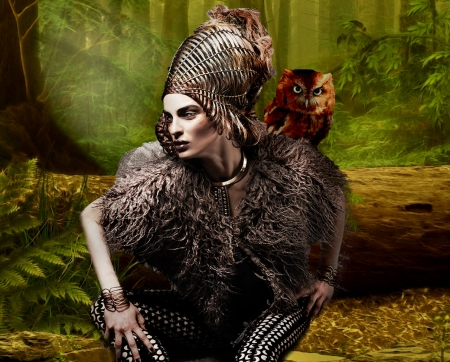 High Fashion Female Warrior - artistic, pretty, stunning, resting, women are special, beautiful, woman, women, etheral women, feminine, female trendsetters, gorgeous, owl, rest, forest, female, lovely, creative, warrior, lips nails eys hair art, girl