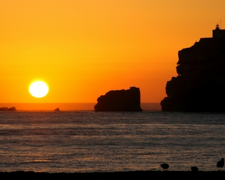 Beautiful Sea Sunset - rocks, cliffs, nature, sunset, sea