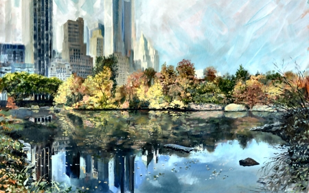 Central Park South in Autumn - art, illustration, New York, New York City, scenery, landscape, Central Park, wide screen, beautiful, USA, artwork, painting
