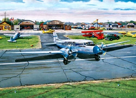 Municipal Airport - art, flight, airport, beautiful, illustration, artwork, airplane, painting, wide screen, commercial, scenery, aviation