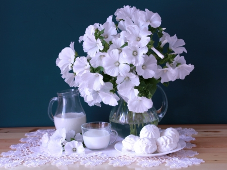 Still Life - lavatera, bouquet, marshmallows, milk, white