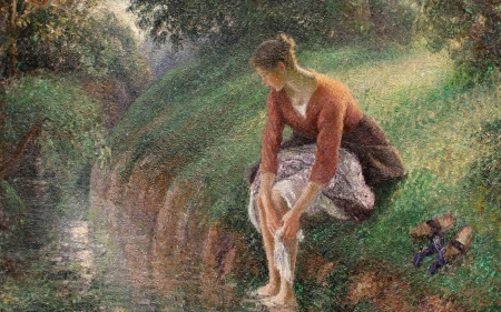 Young woman washing feet - art, camille pissaro, luminos, washing, woman, young, water, girl, feet, painting, summer, river, pictura