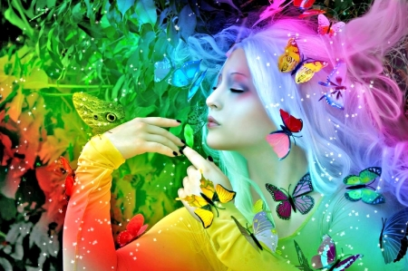 Madame Butterfly - colorful, love four seasons, butterflies, spring, creative pre-made, digital art, woman, rainbows, fantasy, photomanipulation, weird things people wear, summer, butterfly designs