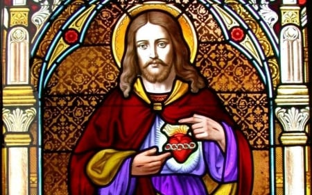 Jesus - stained glass, Jesus, heart, Christ