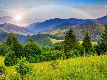 Rainbow Over the Green Mountains - mountain, forest, green, rainbow, trees, Nature