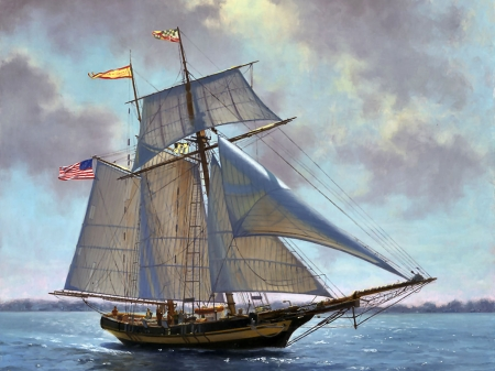 The Pride of Baltimore - art, waves, illustration, sea, high seascape, scenery, ocean, wide screen, beautiful, artwork, sailing ship, painting