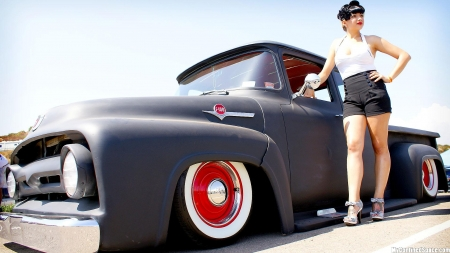 Ford F-100 and Girl - Girl, Ford, F-100, Truck