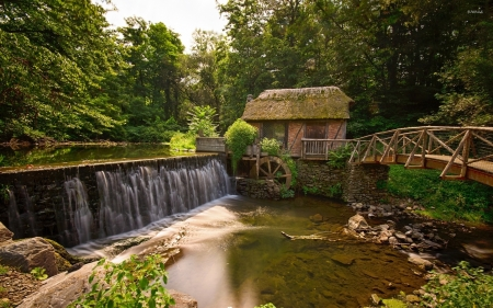 Old Watermill - waterfall, forest, river, watermill