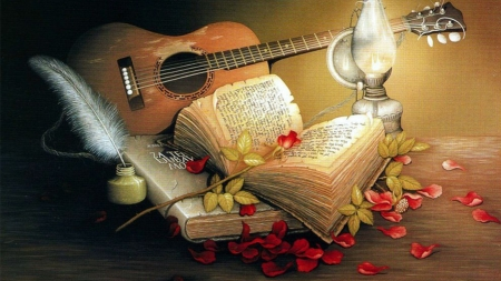Love - book, lamp, backgrounds, guitar