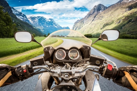The View - view, mountains, mirrors, motorbike, sky, scene