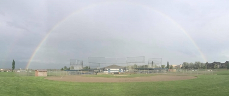 rainbow at baseball field - ball field, rainbow, outdoors, fields, outside, nature