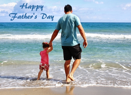 Father and Daughter at the Beach - photo, Fathers Day, holiday, beautiful, father, photography, love, wide screen, child, occasion