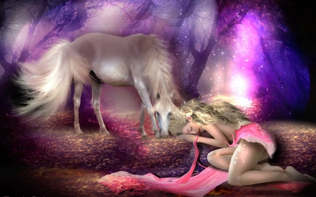 Fantasy Dreans - Colorful, Fantasy girl, horse, Fantasy art, purple, dreaming, digital, magical, pinks