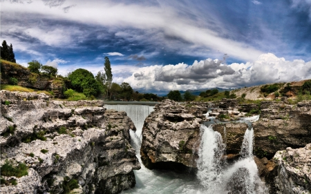 River - landscape, water, waterfall, River, nature