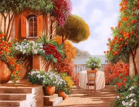 Una Sedia in Attesa - romantic, Italy, stairs, breakfast, terrace, paintings, summer, flowers, nature, dating, scenery, tuscany